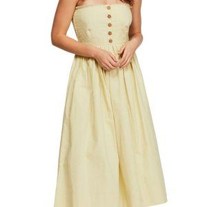 Free People Lilah Lime Strapless Midi Dress